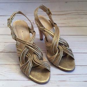 Loeffler Randall Textured Gold Leather Strap Heels